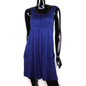 Calvin Klein Navy Blue Pleated Dress